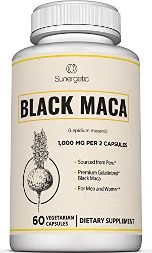 Premium Black Maca Capsules – 1,000mg of Black Maca Root per Serving – Gelatinized Black Maca Powder from Peru – Powerful Black Maca Supplement - 60 Vegetarian Capsules