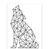 Andaz Press Geometric Origami Wall Art Collection, Black and White Minimalist Print, Wolf, 8.5x11-inch, 1-Pack