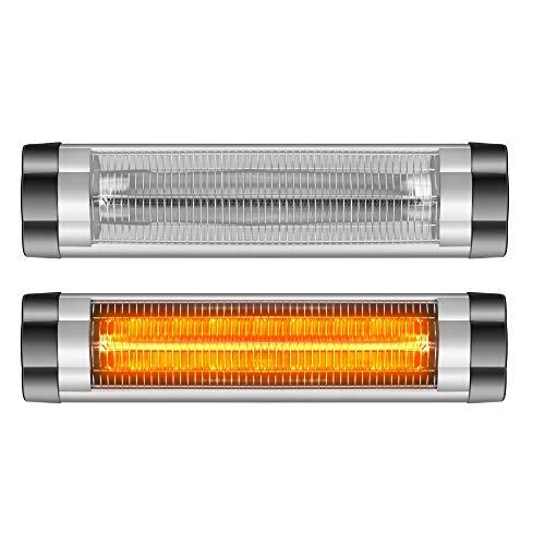 Arebos Infrarot Heizstrahler 2500 W | regelbares Thermostat | IP34 Schutzart | Low-Glare-Technologie | 3 Heizstufen Stufenlos