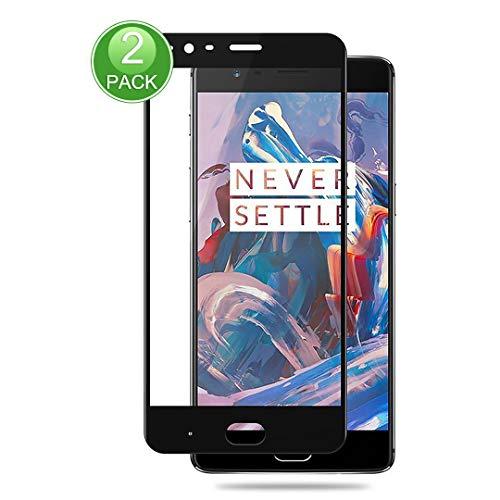 X-Dision Display Schutzfolie Kompatibel mit OnePlus 3[2 Packungen],Gehärtetem Glas mit Vollständiger Abdeckung,[Einfache Installation][9H-Härte]für OnePlus 3,Schwarz