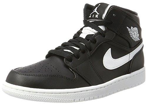 Nike Air Jordan 1 Mid, Scarpe da Basket Uomo, Nero (Black/White/White), 44.5 EU