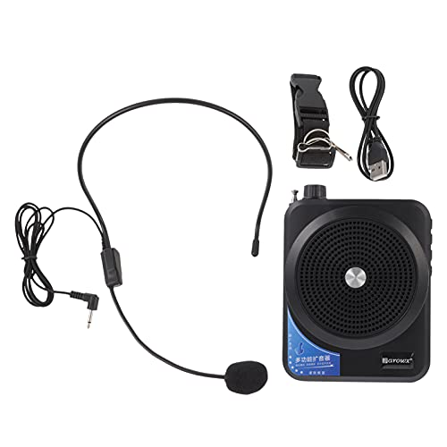 Generic 1 Set Wireless Voice Amplifier with Microphone Rechargeable Portable PA System Speaker Wireless Sound Amplifier for Teachers Guides Yoga Fitness Black