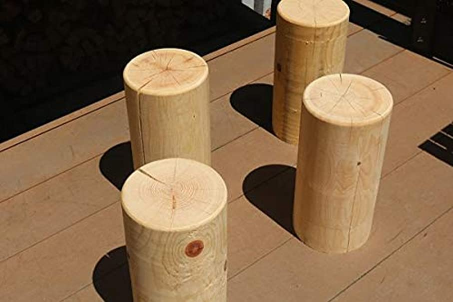 位置づける陽気な軽く檜(ヒノキ) イス 円柱仕上げ 4個セット ファミリーセット