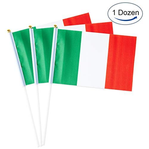 Mflagperft Italy Flag Italian Small Stick Mini Hand Held Flags Decorations 1 Dozen (12 Pack)