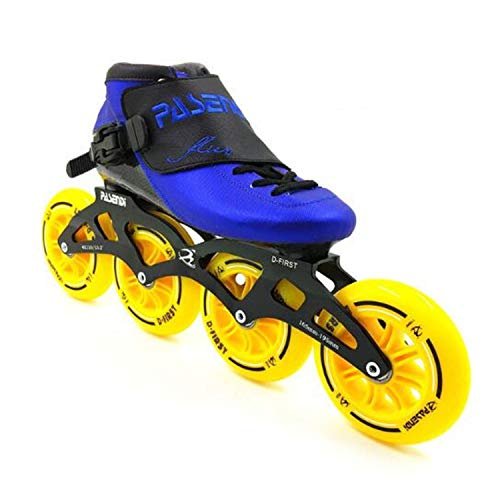 TTYY Speed Inline Skates Carbon Fiber 490/100/110mm Competition Skates 4 Wheels Street Racing Skating Patines Blue EU40