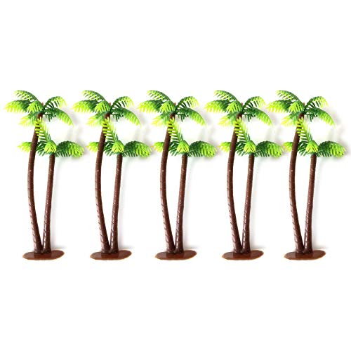 LHKJ 5Pcs Mini Coconut Trees Palm Tree Cake Topper for Cake Decoration Green Palm Tree with Coconuts Cupcake Topper for Beach