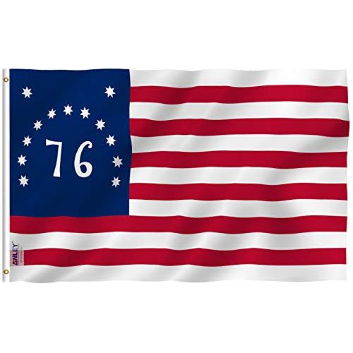ANLEY Fly Breeze 3x5 pés Bandeira Bennington 76 - Cor vívida e resistente ao desbotamento UV - Cabeçalho de lona e costura dupla - Bandeiras da Revolução Americana Poliéster com ilhós de latão