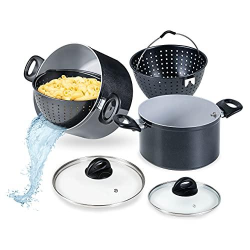 Genius Cerafit Magic Pot Kochtopf-Set 6tlg. 20cm + 24cm - Topf 3,7l + 6,3l mit Siebeinsatz & Glasdeckel für einfaches Kochen, Abgießen & Servieren | Nudeltopf für alle Herdarten