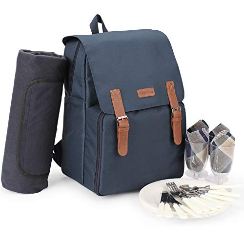 Isolierter Kühlerrucksack, Picknicktasche für 4 Personen mit großem Kühlfach, wasserdichter und sanddichter Fleecedecke, Teller und Besteckset für Camping, Strandausflüge, Festivals (NAVY BLUE)