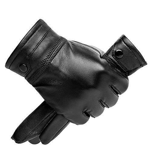 Guantes de Cuero para Hombre Otoño Invierno Pantalla táctil cálida Guantes Negros de Dedo Completo a60-L