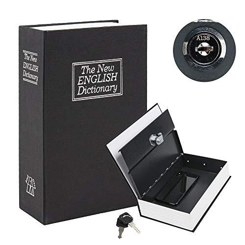 """KYODOLED Book Safe with Key Lock, Portable Metal Safe Box,Secret Book Hidden Safe,Dictionary Diversion Book Safe,9.5"""" x 6.1"""" x 2 .2"""" Black Large"""