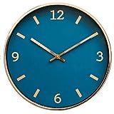 Comodo Casa Metal Wall Clock-Rose Gold Frame-Glass Cover-Non Ticking-Quartz Sweep-Silent 12 inch Luxury Clocks,Navy Blue