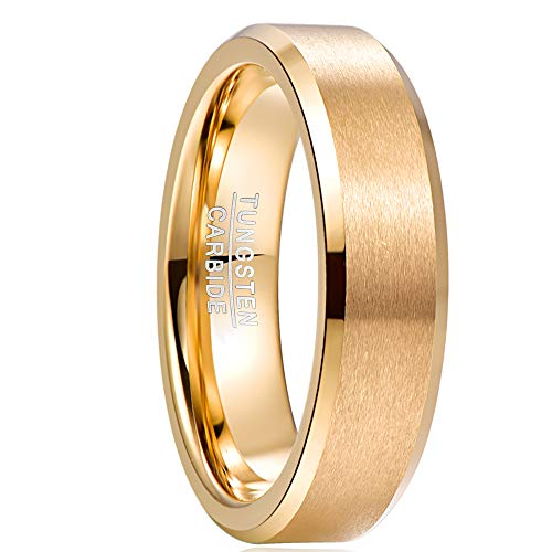 NUNCAD Herren Damen Ring 6mm Gold Wolfram Ringe Hochzeitsring Partnerring Größe 58