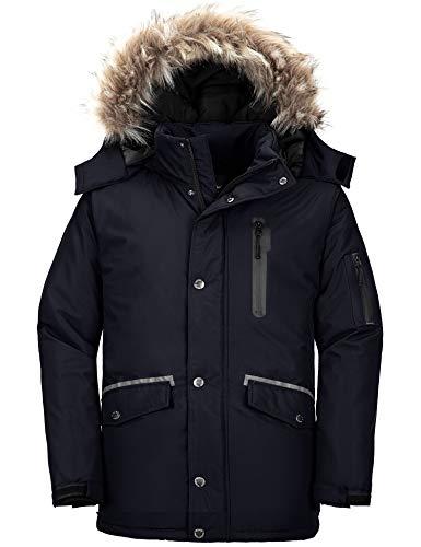 Wantdo Men's Long Winter Parka Coat Insulated Puffer Jacket with Hood Black M