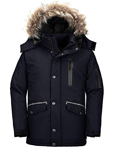 Wantdo Men's Long Winter Parka Coat Insulated Puffer Jacket with Hood Black M