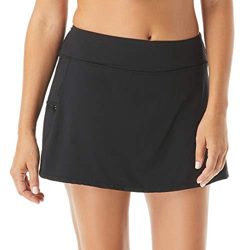 BEACH HOUSE Emma Multi-Sport Swim Skort — Attached Boy Shorts, Running, Tennis, Golf Skirt, Black, 12
