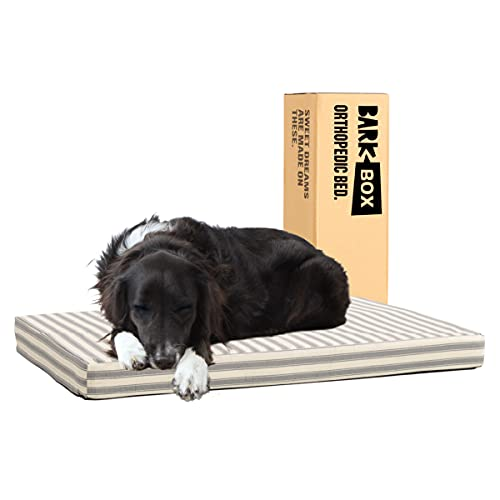 Barkbox Memory Foam Platform Dog Bed   Plush Mattress for Orthopedic Joint Relief   Machine Washable Cuddler with Removable Cover and Water-Resistant Lining   (Large, Stripe)