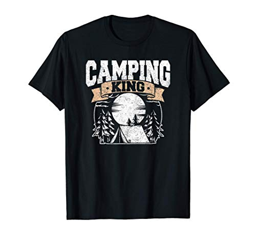 Hombre Camping King Lover Gift Camper Silhouette Love Camiseta