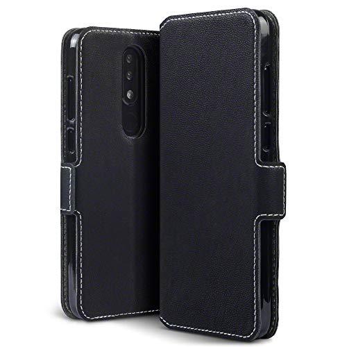 TERRAPIN, Kompatibel mit Nokia 5.1 Plus Hülle, Leder Tasche Case Hülle im Bookstyle mit Standfunktion Kartenfächer - Schwarz