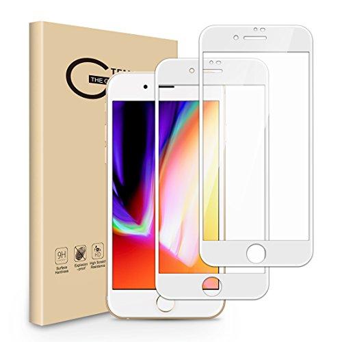 Seinal Panzerglas Schutzfolie für iPhone 7 iPhone 8,[2 Stück] 3D Full Screen Panzerglasfolie,9H Gehärtetes Glas,Vollständige Abdeckung Displayschutzfolie,3D Touch,Ultra HD Clear Kratzfest(Weiß)