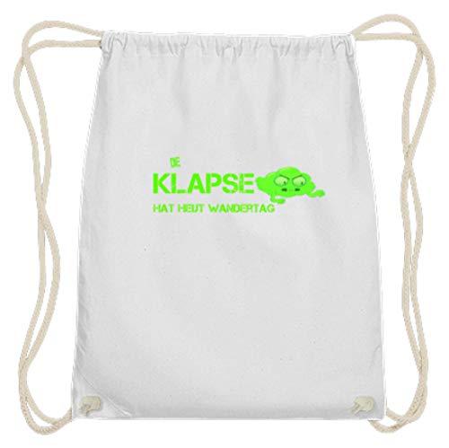 SPIRITSHIRTSHOP Die Klapse Hat Heut Wandertag. – Molinillo de piquetas, apartamento psiquiátrico, caseta de engorros, gogones – Gymsac de algodón, color Blanco, tamaño 37cm-46cm
