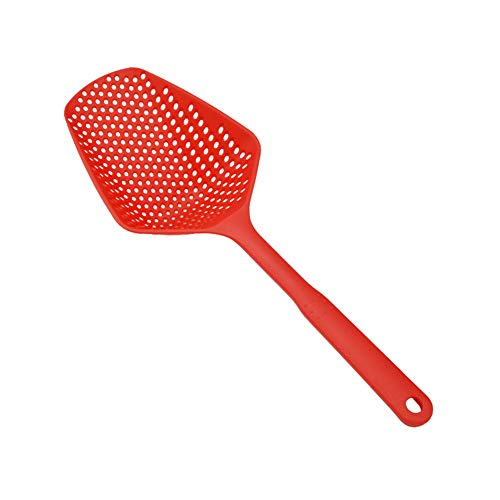 Everpertuk No-Stick Drain Colanders Shovel Strainers Vegetable Water Leaking Spoon Kitchen Cooking Tools (rot)