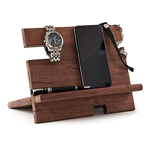 Wood Phone Charging Station for Men and Nightstand Organizer Dock - for All iPhone, Android Devices - Wooden Bedside Stand