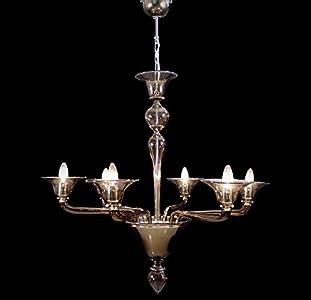 Palermo - Lámpara de techo de cristal de Murano con 6 luces ahumadas