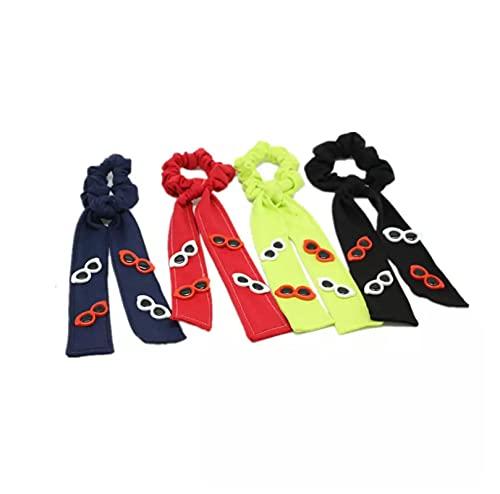 MRBIGWEI 4pcs Denim Loop Hair Scrunchie Bandas elásticas Color sólido Mujeres Niñas Soporte de Cola de Caballo con Accesorios para Gafas de Sol