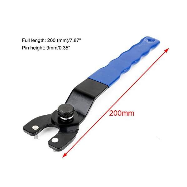 Tingz 2PCS Llave inglesa amoladora angular de 8-50 mm, llave de tuerca de bloqueo, llave de pasador ajustable, mango en negrita (azul)