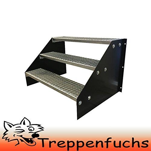 3 Stufen Standtreppe Stahltreppe freistehend Breite 80cm Höhe 63cm Schwarz / Robuste Außentreppe / Stabile Industrietreppe für den Außenbereich
