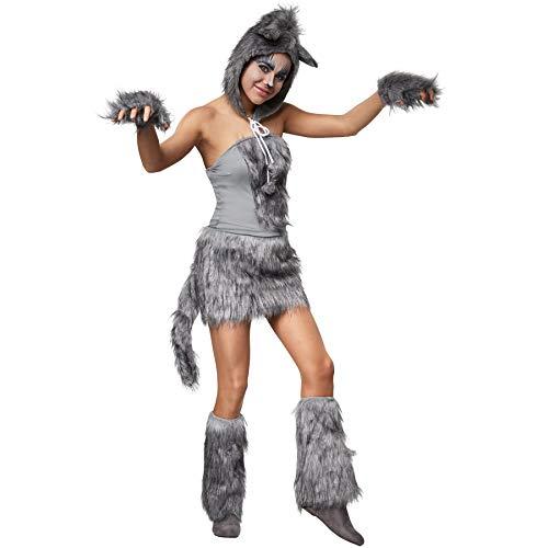 dressforfun 900539 - Disfraz de Mujer de Loba Coqueta, Vestido Gris Claro y Piel Sintética (M | No. 302492)