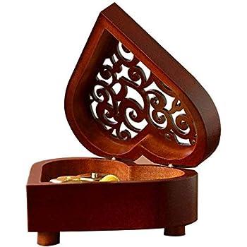 Shumo Caja Musical de Mecanismo Tallada en Madera Vintage en Forma de Corazón Creativo Caja de Música de Cuerda Regalo para Navidad/Cumplea?os/Día de San Valentín- Castillo en el Cielo: Amazon.es: Hogar