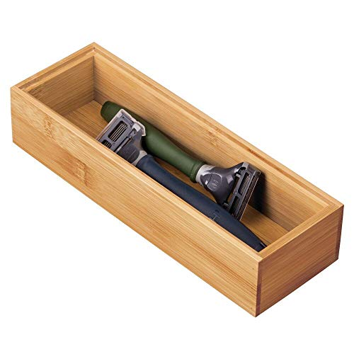 mDesign Caja de madera de bambú – Práctico cajón organizador para el baño – Cajas organizadoras de para organizar maquillaje, maquinillas de afeitar, lociones y más – color natural