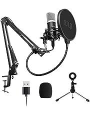 UHURU USB-microfoon, 192 kHz / 24-bits, cardioïde pc-streaming-microfoonkit met professionele soundchipset, desktopstandaard, shock mount pop-filter, voor Skype Youtube, gaming-opname