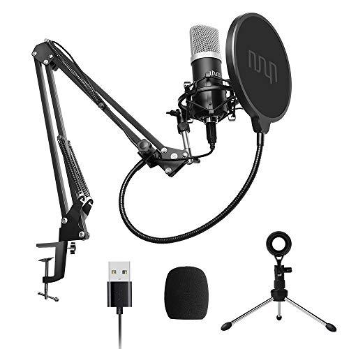 Micrófono de condensador USB, micrófono de PC cardioide UHURU 192Khz/24Bit con chip de sonido profesional, soporte, montaje de choque, filtro pop para Skype,YouTube, grabación de juegos, voz en off