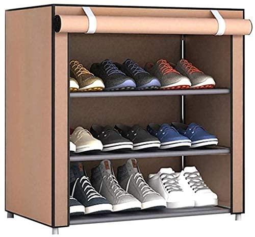 GQQ Estante de Almacenamiento de Zapatos a Prueba de Polvo Estante de Zapatos de 3 Nigabinete con Cubierta Estante de Almacenamiento de Zapatos de Tela No Tejida a Prueba de Polvo de Pie Independient