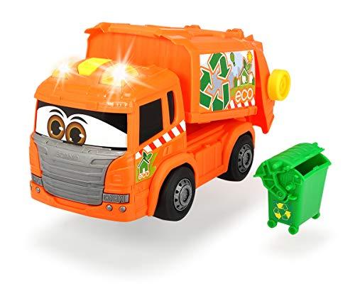 Dickie Toys Happy Garbage Collector, motorisiertes Müllauto, fährt vorwärts-rückwärts, Licht & Sound, inkl. Batterien, manuelles Heben und Senken des Containers und der Mülltonne, 25 cm groß, orange