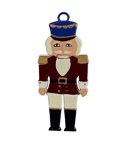 Zinngeschenke Nußknacker aus Zinn von Hand beidseitig bemalt (HxB) 7,5 x 3,2 cm, Christbaumanhänger, Christbaumschmuck, weihnachtlicher Zierschmuck, Zinnfiguren bemalt