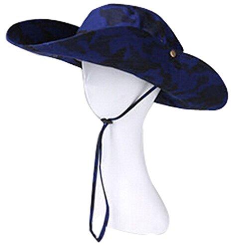 Summer Fold-Up Brim Flap Hat Sun Hat Protection for Outdoor Bush Hat Dark Blue