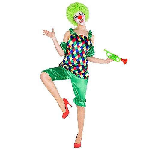 dressforfun Costume da Donna - Clown Augusta | Top che Lascia Sensualmente Scoperte le Spalle | Incl. Naso da Pagliaccio (XL | No. 300811)