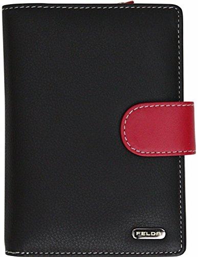 Felda - Damen Geldbörse mit 23 Kartenfächern & Münzfach - RFID-Blocker - aus Echtleder - groß - Schwarz Mehrfarbig