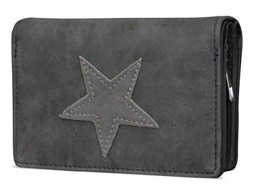 PiriModa Damen Luxus Stern Geldbörse Geldbeutel Brieftasche Portemonnaie Damenbörse Börse Betongrau