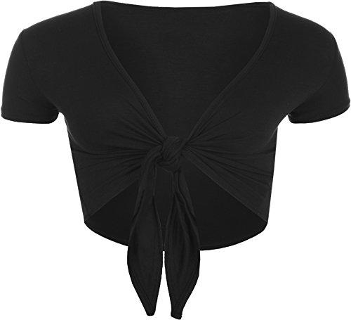 WearAll - Damen Kurzarm Binden Crop Top - Schwarz - 36-38