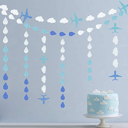 Glitter Raindrop Tear Garlands for Baby Shower Decoration Nursery Decor Blue Airplane Banner Cloud Backdrop for Aviator Themed Kids 1st Birthday Party Paper Streamer Up and Away Party Room Wall Décor