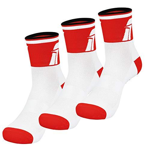 Fast Cycles – Confezione da 3 paia di calzini traspiranti per ciclismo e sneaker, per uomo e donna, per mountain bike, spinning, fitness, tennis, jogging e corsa., Unisex - Adulto, bianco/rosso, 35-39