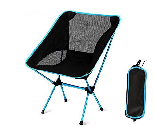 Silla Plegable Sillón reclinable de Aluminio Silla Plegable Ultraligera para Acampar al Aire Libre Silla de Playa Silla de jardín Familiar Pesada 150 kg (Lake Blue)
