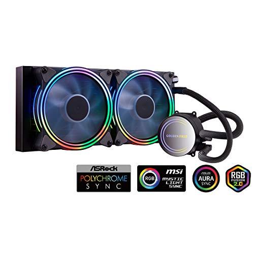 GOLDEN FIELD ICY Chill Series AIO CPU Wasserkühlung 240mm RGB Liquid Cooler mit Kühler Wasser Kühlsystem für Desktop-PC Intel AMD Sockel