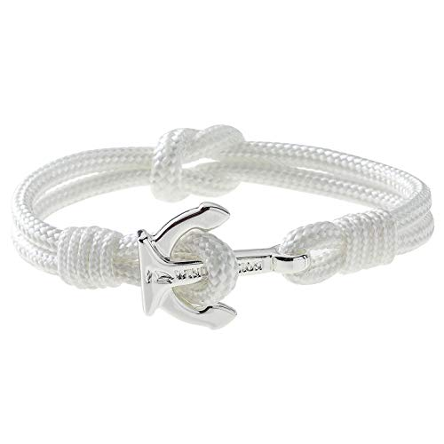 Wind Passion Premium Anchor White Bracelet Durable Nautical Rope Cuff Wristband for Men Women, Small Size