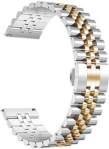 JZDH Reloj Accesorios Reloj Correa Acero Inoxidable Cinco Correa de Cuentas 22 mm 20 mm Strapwatch de Acero Correa de Banda de liberación rápida Pulsera de Pulsera Pulsera
